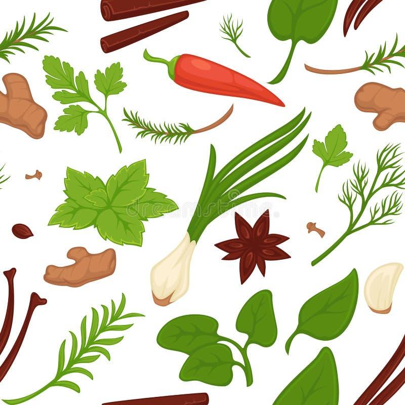 Vetor sem emenda do teste padrão do aneto e da salsa, das hortaliças e das ervas ilustração royalty free