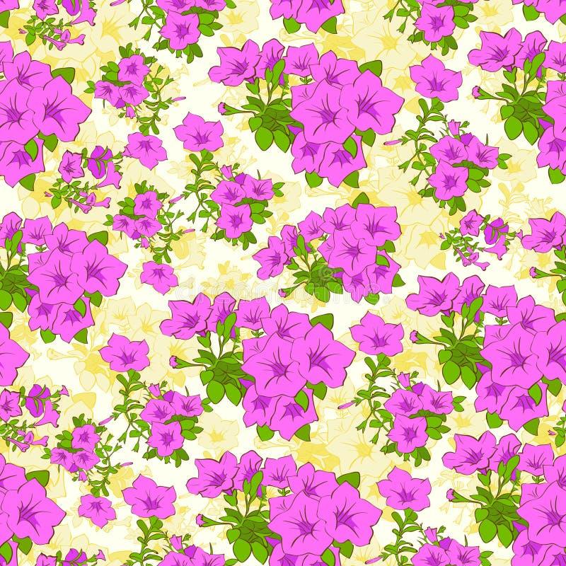 Vetor sem emenda do teste padrão da planta da flor da rosa do rosa ilustração royalty free