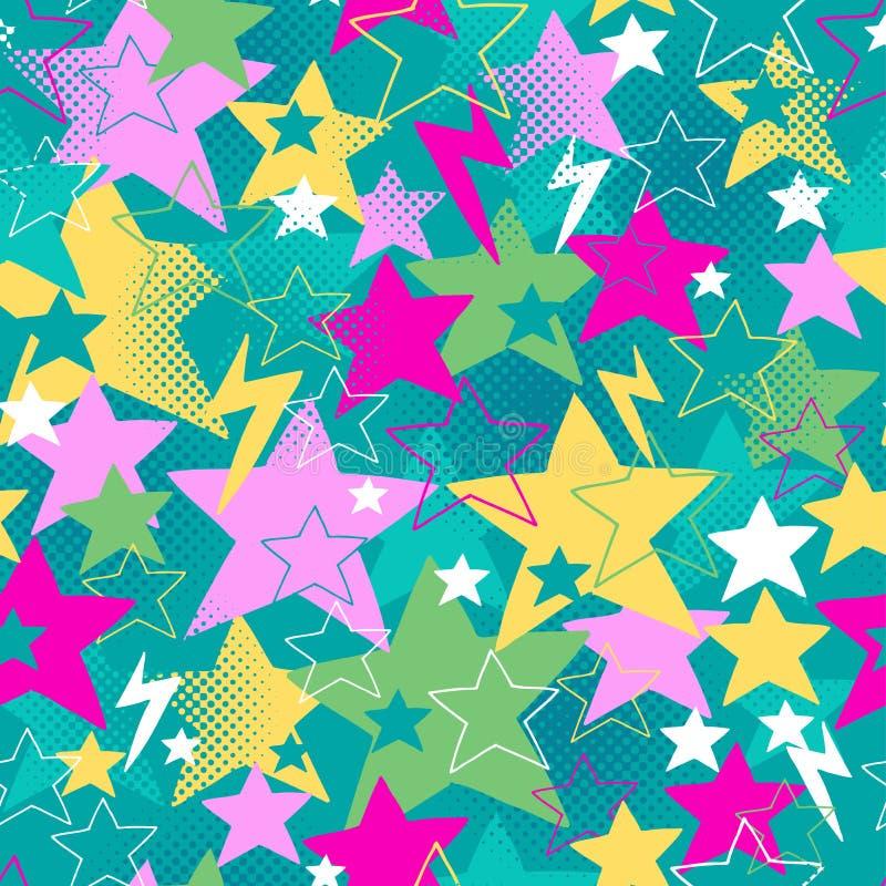 Vetor sem emenda do teste padrão da repetição das estrelas e dos parafusos ilustração royalty free