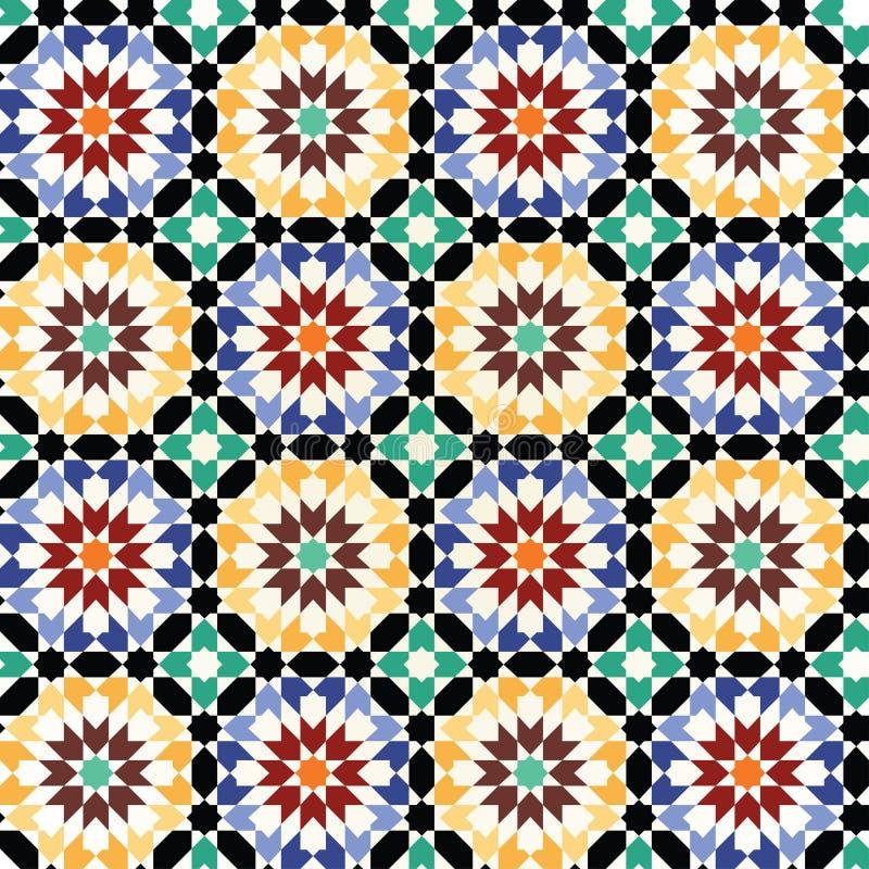 Vetor sem emenda do teste padrão da telha de mosaico ilustração stock