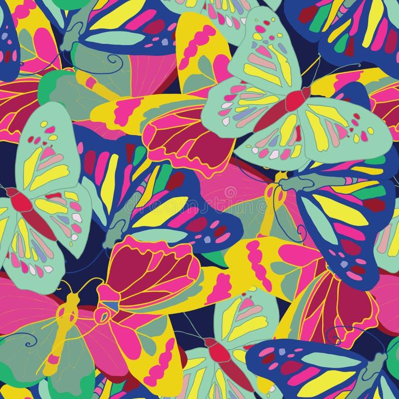 Vetor sem emenda do teste padrão das borboletas criativas e coloridas da natureza ilustração royalty free