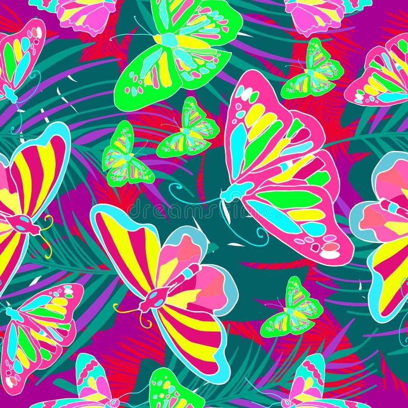 Vetor sem emenda do teste padrão das borboletas criativas e coloridas da natureza ilustração stock