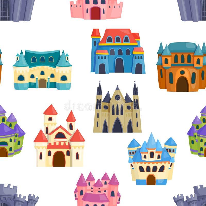 Vetor sem emenda do teste padrão do castelo ilustração stock