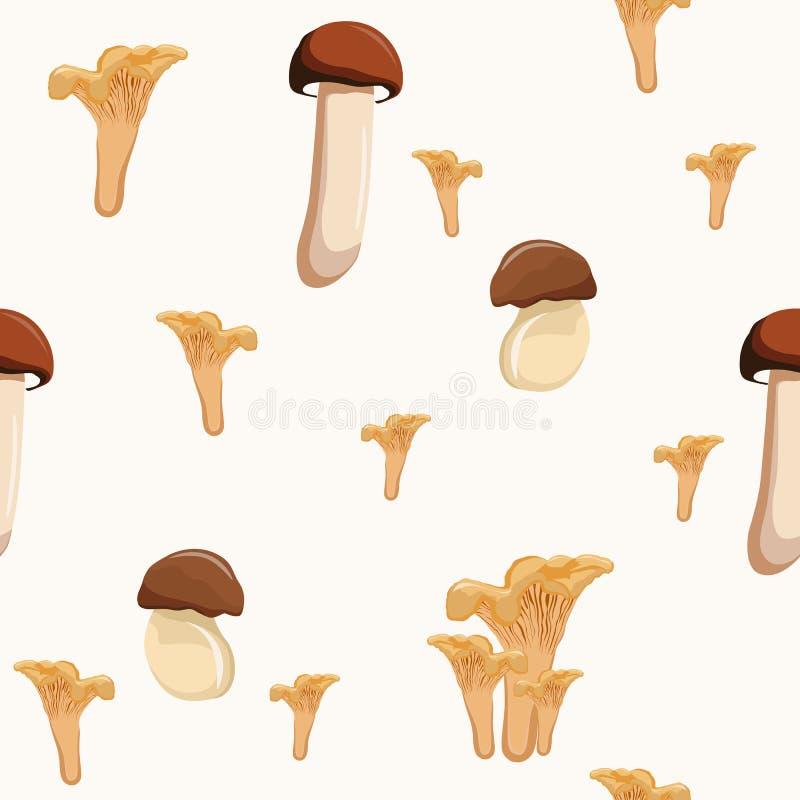 Vetor sem emenda do teste padrão do outono claro bonito com cogumelos ilustração stock