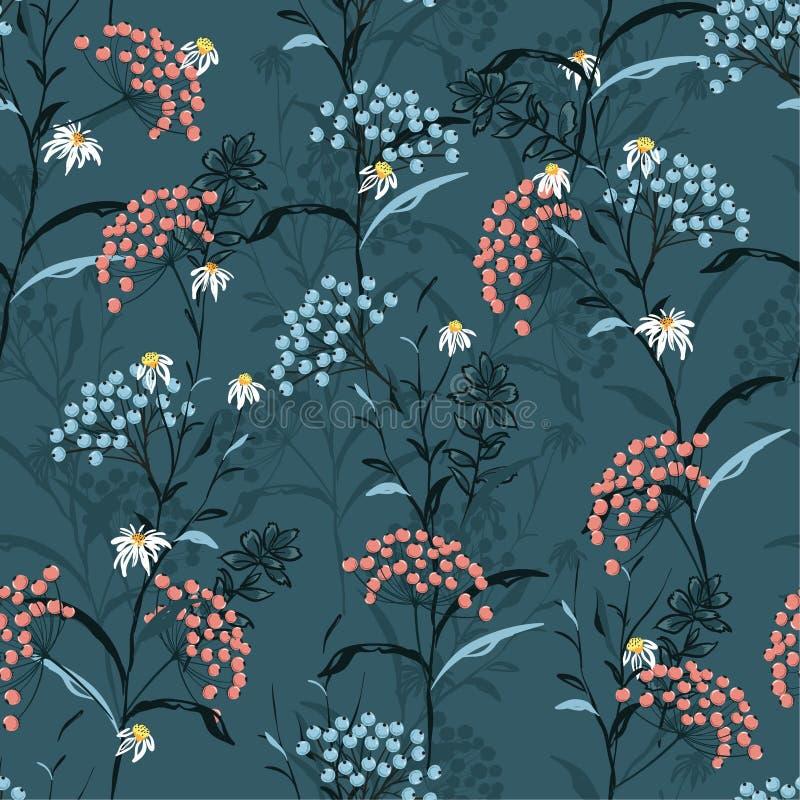 Vetor sem emenda do teste padrão do outono escuro bonito com rosa e azul ilustração royalty free
