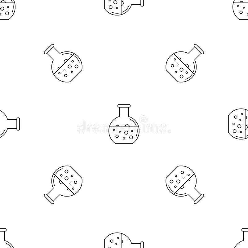 Vetor sem emenda do teste padrão redondo químico da garrafa ilustração royalty free