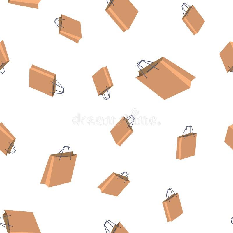 Vetor sem emenda do teste padrão do saco de compras Ícone varejo Armazene a venda Textura gráfica bonito contexto de matéria têxt ilustração royalty free
