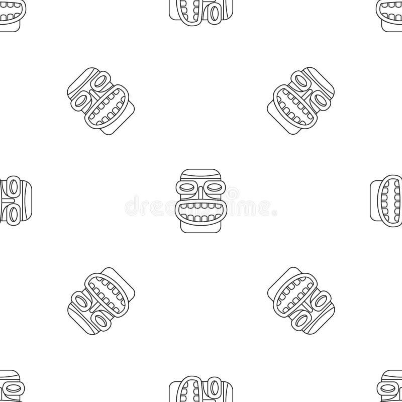 Vetor sem emenda do teste padrão do sorriso do ídolo de Tiki ilustração stock