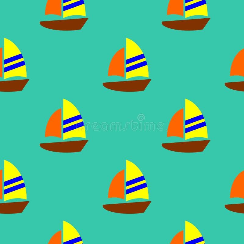 Vetor sem emenda do teste padrão do veleiro colorido bonito ilustração do vetor