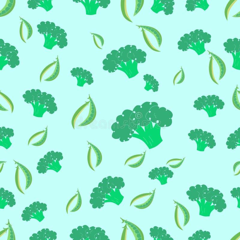 Vetor sem emenda dos brócolis e das ervilhas do teste padrão ilustração stock