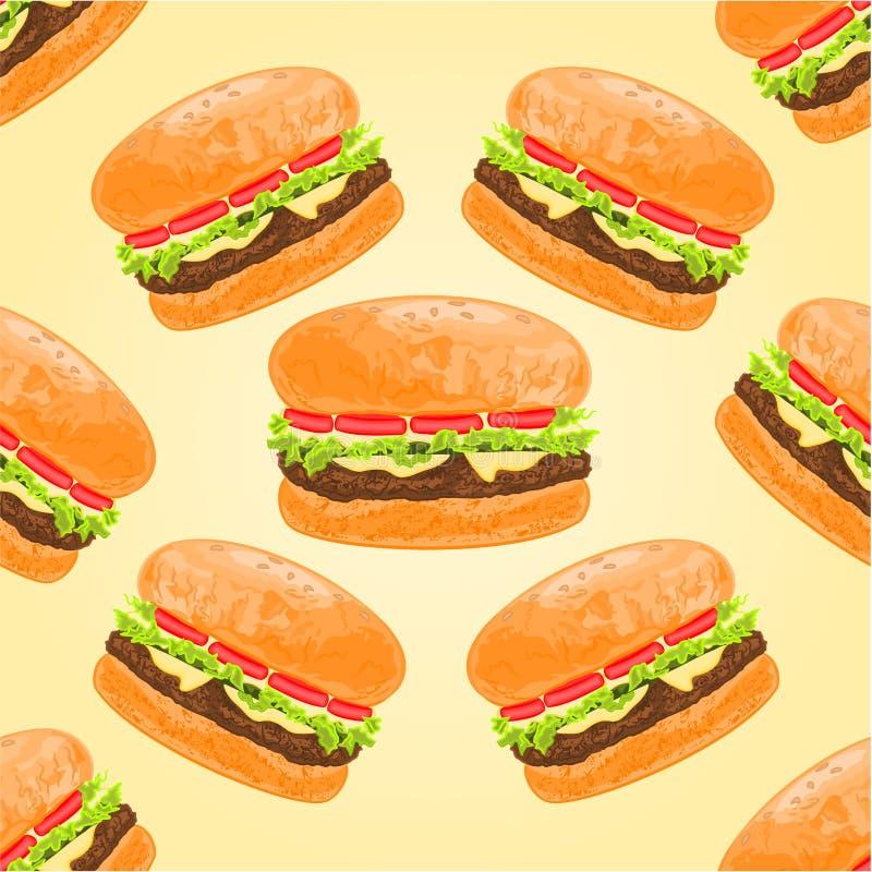 Vetor sem emenda dos Hamburger da textura ilustração do vetor