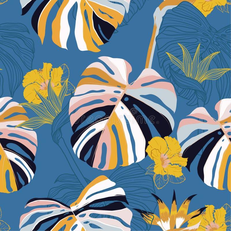Vetor sem emenda Flor tropical contemporânea do teste padrão do verão brilhante ilustração royalty free