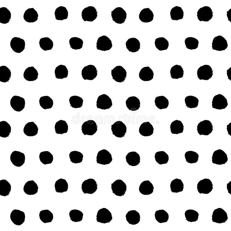Vetor sem emenda tirado do teste padrão do às bolinhas da mão preta ilustração royalty free
