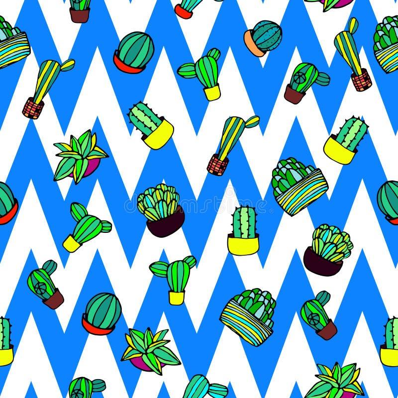 Vetor sem emenda tirado mão colorido e do divertimento do cacto do estilo retro do teste padrão ilustração stock