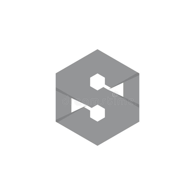 Vetor sextavado do logotipo da letra s 3d fotografia de stock