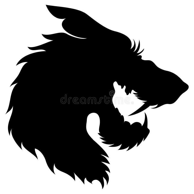 Vetor. Silhueta principal do lobo. fotografia de stock royalty free