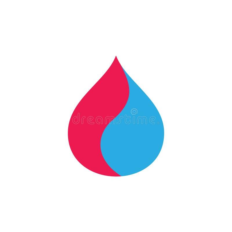 Vetor simples colorido do logotipo das curvas da gota da água ilustração stock