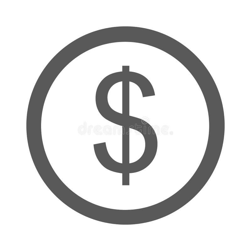 Vetor simples do ícone do dólar ilustração royalty free