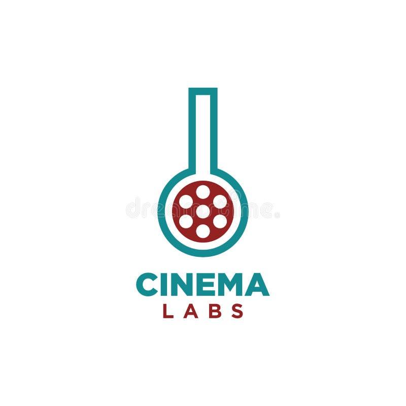 Vetor simples do projeto do logotipo dos laboratórios do cinema ilustração royalty free