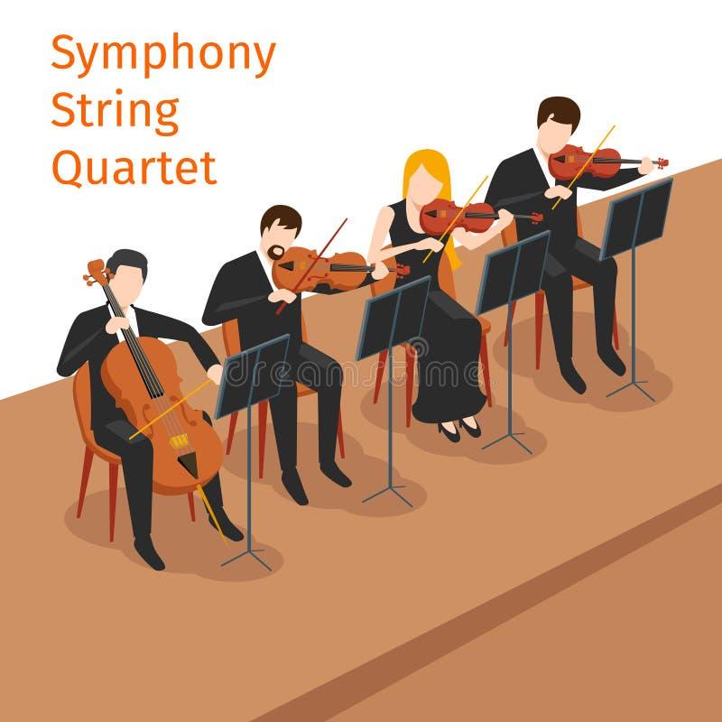 Vetor sinfônico do quarteto de cordas da orquestra ilustração stock