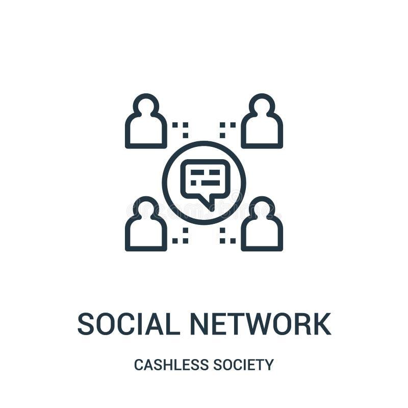 vetor social do ícone da rede da coleção cashless da sociedade Linha fina ilustração social do vetor do ícone do esboço da rede ilustração do vetor