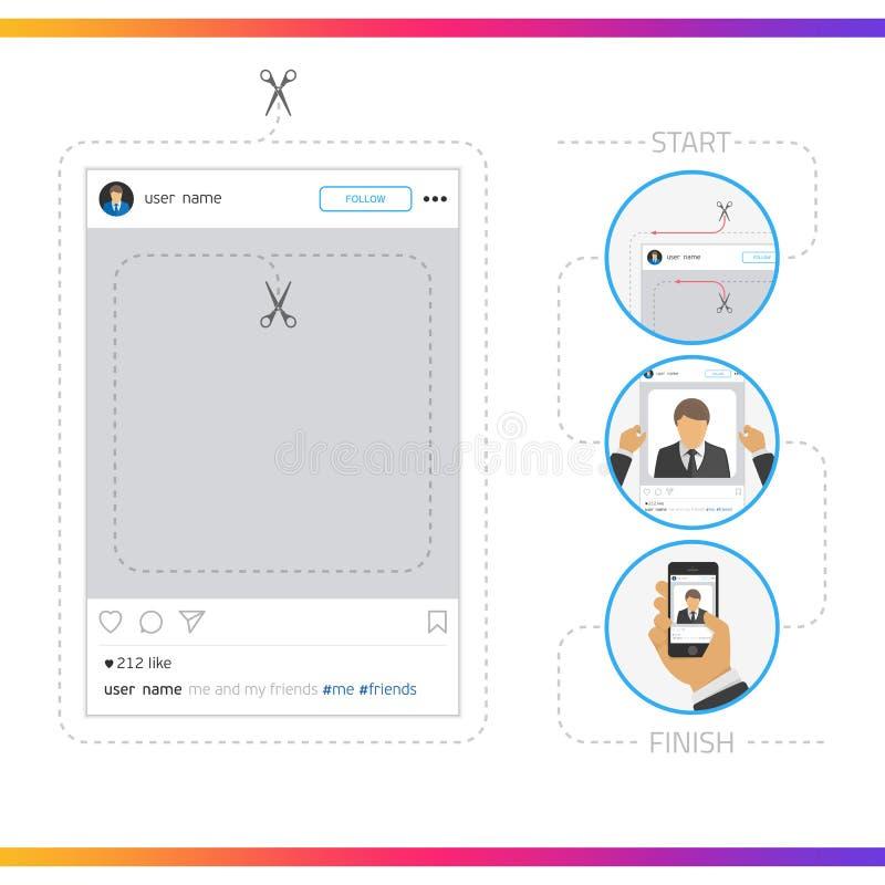Vetor social do quadro da foto da rede ilustração stock