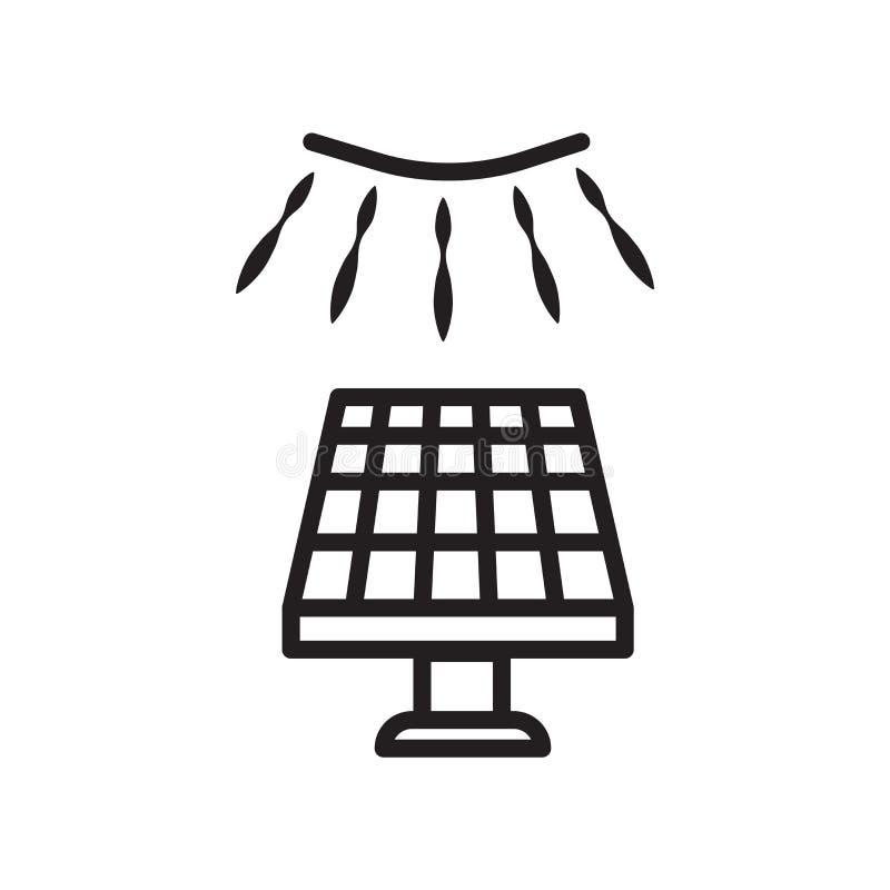 Vetor solar do ícone isolado no fundo branco, no sinal solar, no símbolo linear e nos elementos do projeto do curso no estilo do  ilustração do vetor