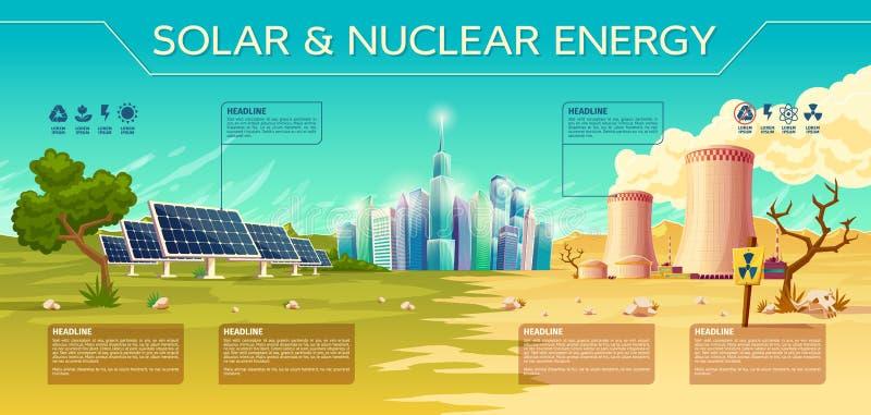 Vetor solar, infographics nuclear da indústria energética ilustração do vetor
