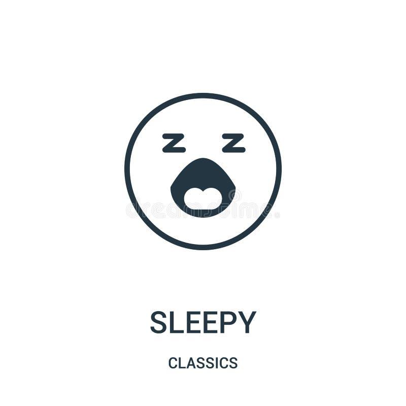 vetor sonolento do ícone da coleção dos clássicos Linha fina ilustra??o sonolento do vetor do ?cone do esbo?o S?mbolo linear ilustração stock
