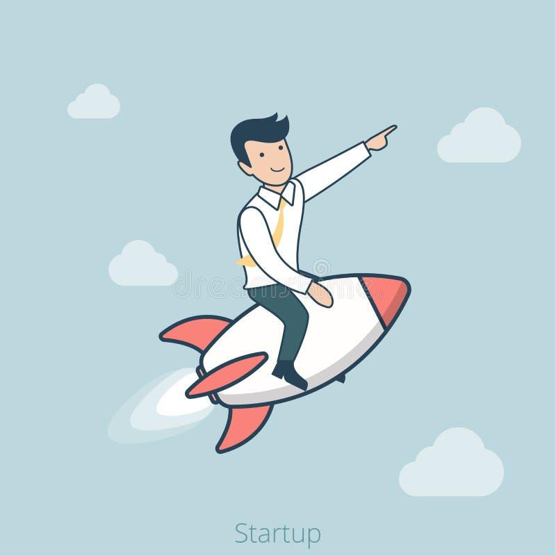 Vetor Startup liso linear da Web do voo do foguete do homem mim ilustração do vetor