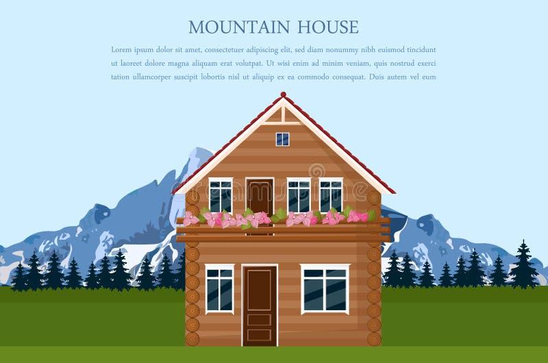 Vetor suíço do cartão do estilo da casa da montanha Ilustrações do fundo dos desenhos animados da opinião da paisagem ilustração royalty free