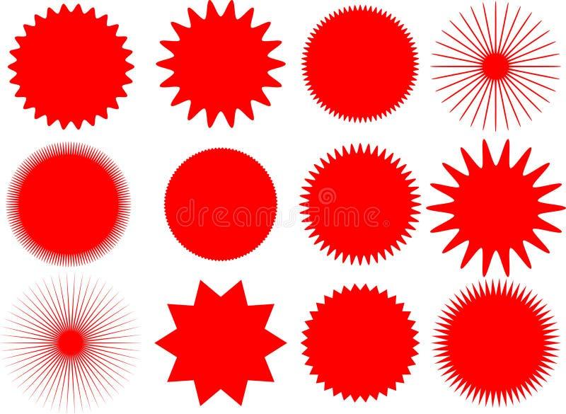 Vetor Sun e formas da estrela ilustração stock