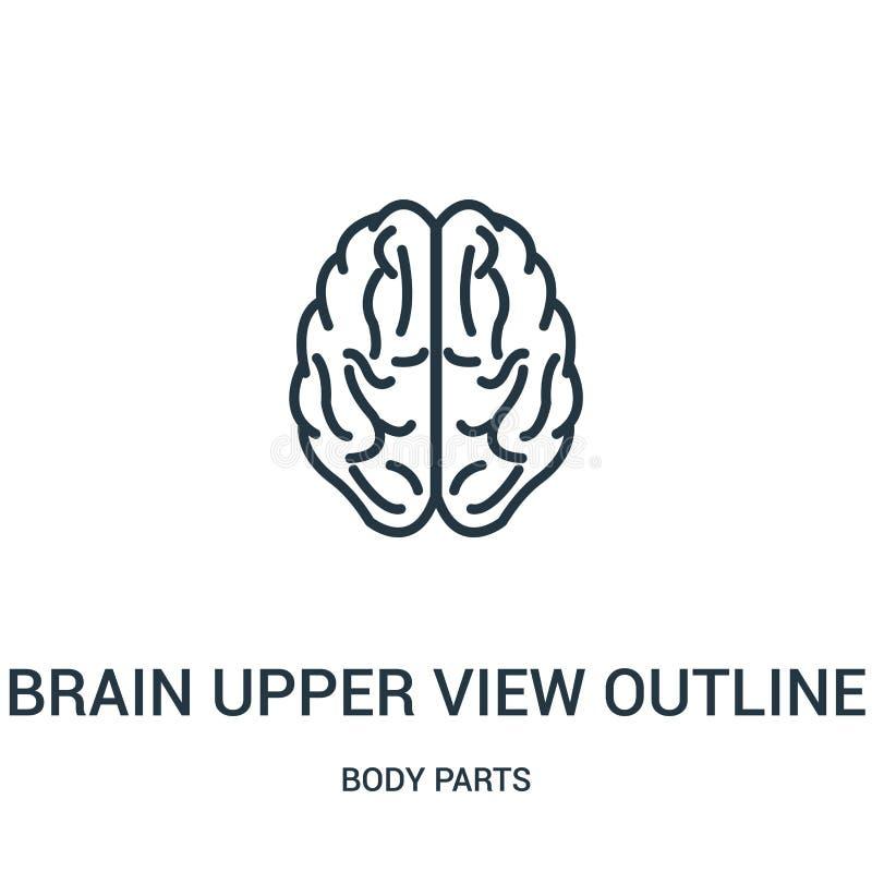 vetor superior do ícone do esboço da opinião do cérebro da coleção das partes do corpo Linha fina vetor superior do ícone do esbo ilustração do vetor