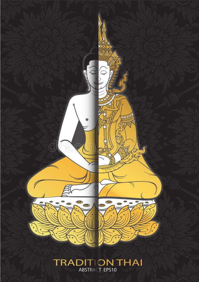 Vetor tailandês da tradição da Buda ilustração do vetor