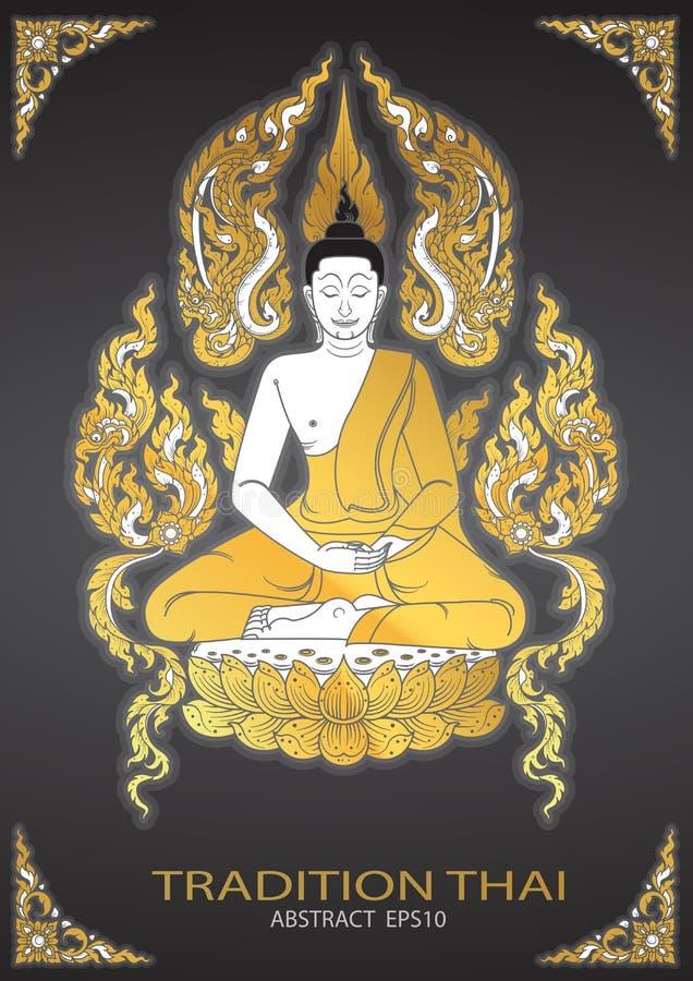 Vetor tailandês da tradição da Buda ilustração royalty free