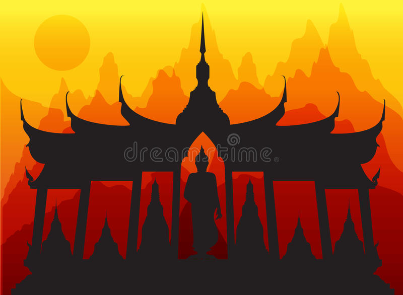 Vetor tailandês de buddha do pagode de Wat ilustração royalty free