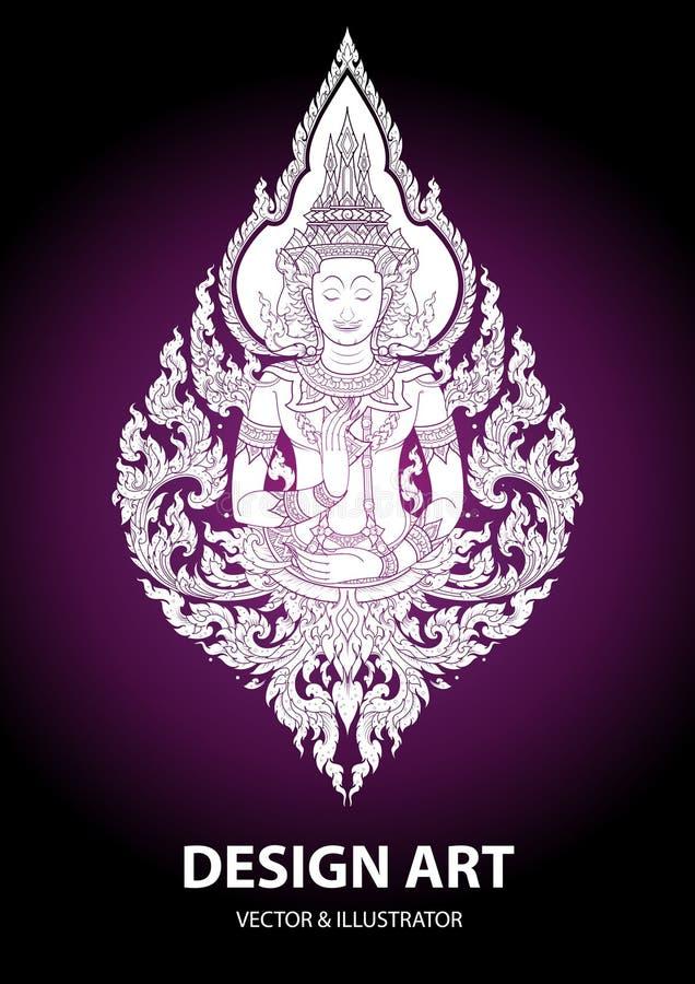 Vetor tailandês do curso do esboço de buddha da disposição ilustração stock