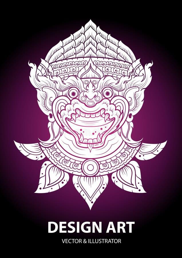 Vetor tailandês do esboço da disposição do macaco ilustração do vetor
