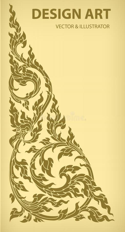 Vetor tailandês do teste padrão do esboço da disposição ilustração royalty free