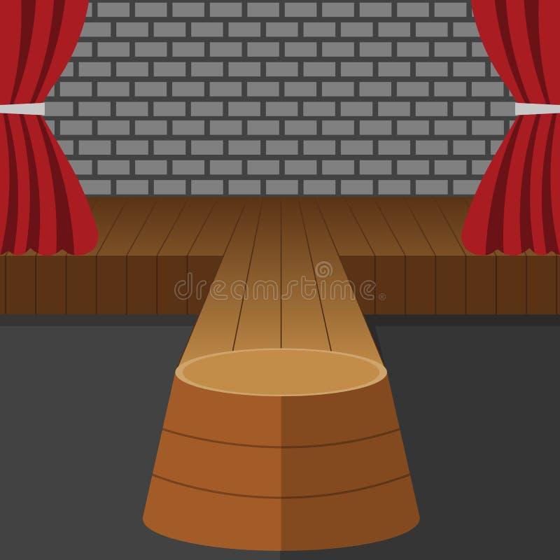 Vetor teatral da cena Desempenho P?dio da fase Cortinas vermelhas de veludo Mostra do evento Assoalho de madeira Ilustra??o lisa  ilustração stock