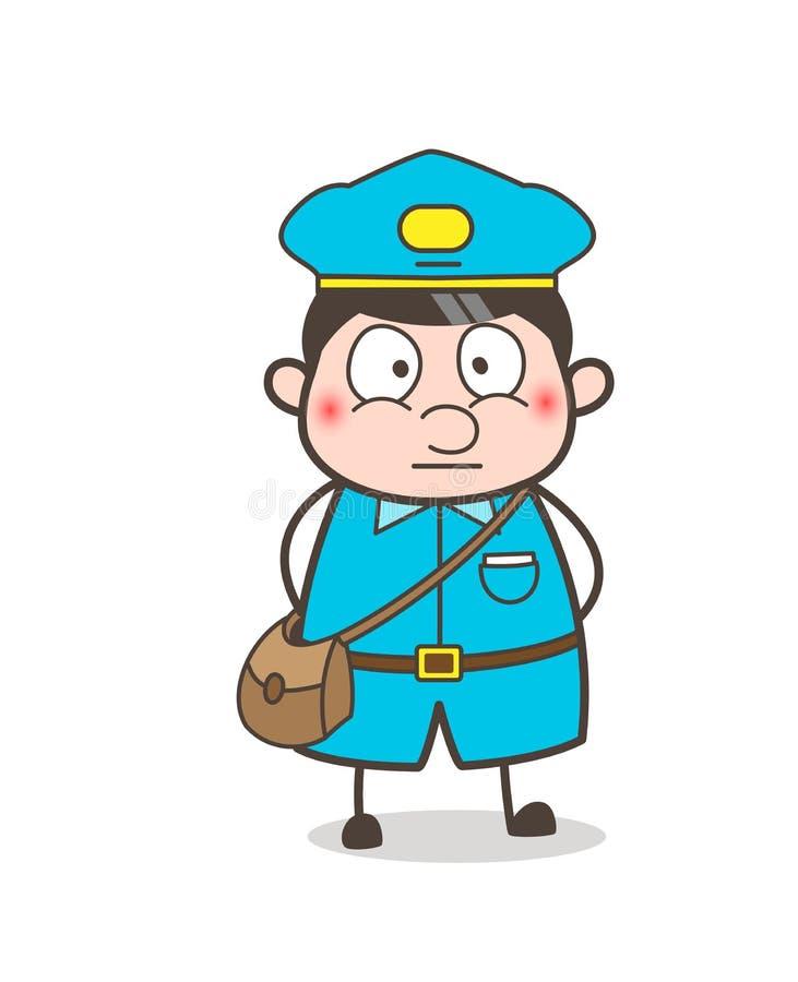 Vetor temível da cara do carteiro assustado ilustração royalty free