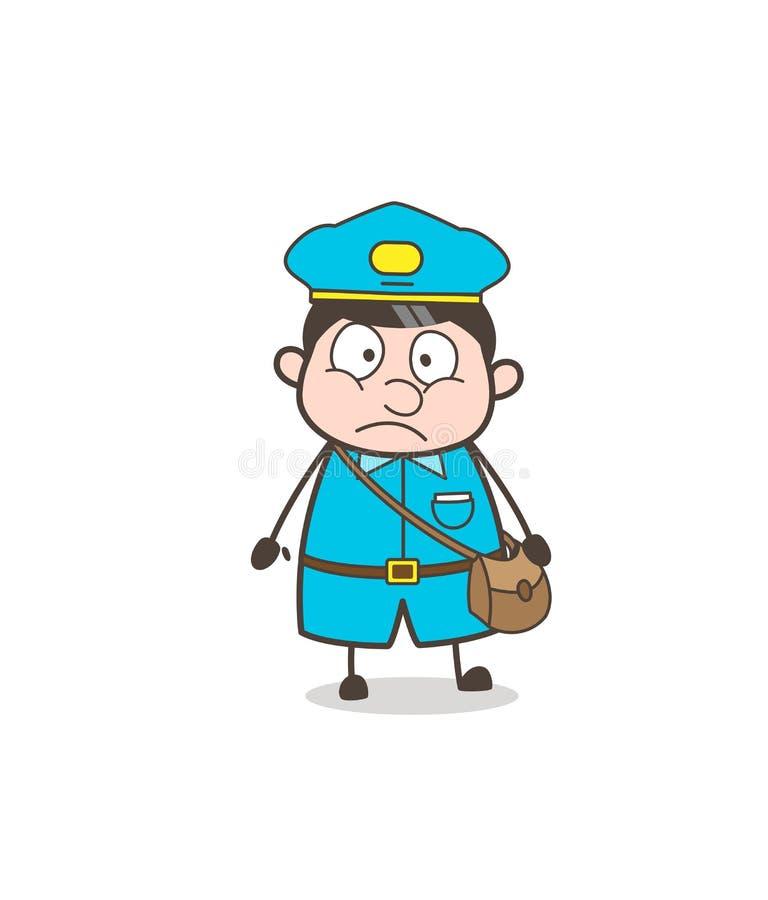 Vetor temível da cara do Postal-trabalhador ilustração stock