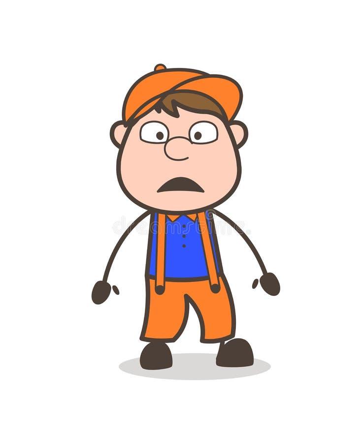 Vetor temível da cara do trabalhador dos desenhos animados ilustração royalty free