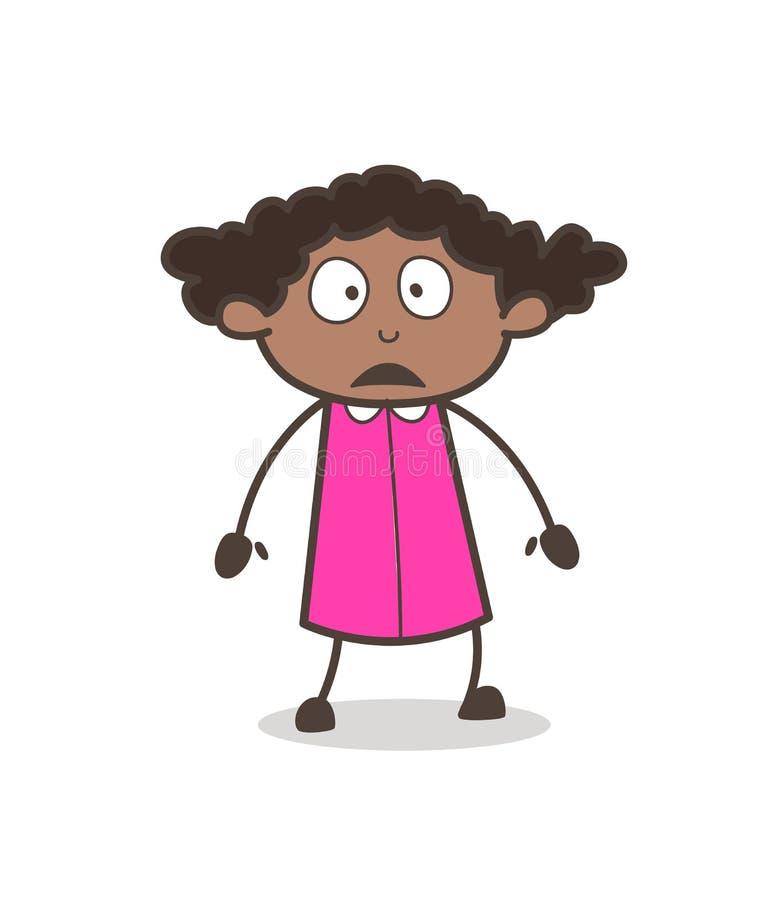 Vetor temível da expressão facial da moça ilustração do vetor