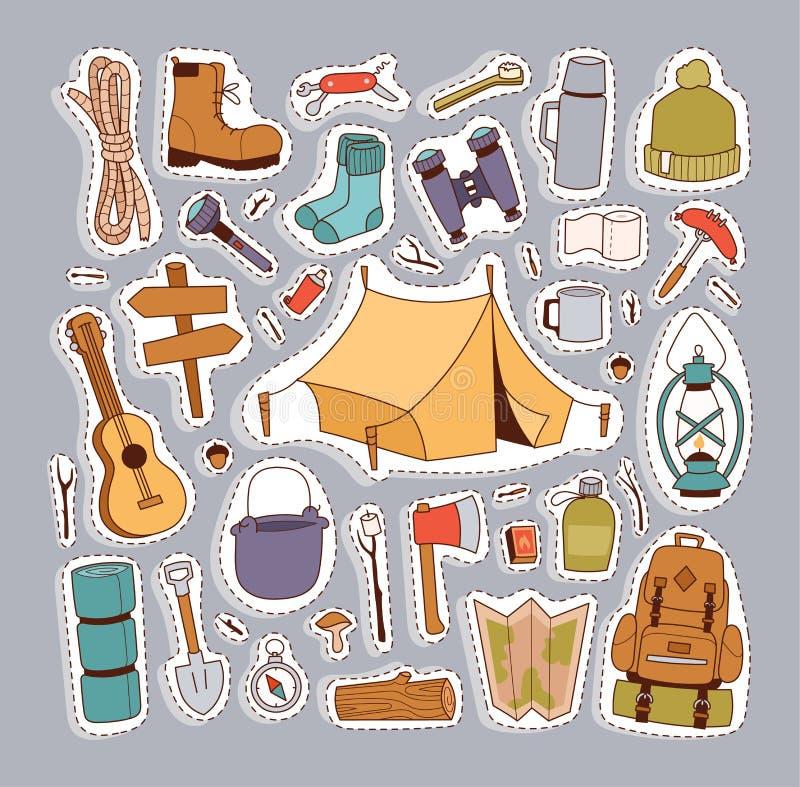 Vetor tirado de acampamento do estilo das etiquetas à disposição ilustração do vetor
