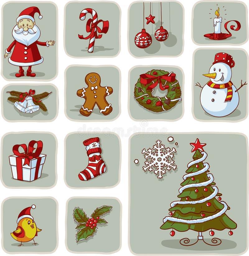 Vetor tirado dos elementos do Natal do vintage mão gráfica ilustração royalty free