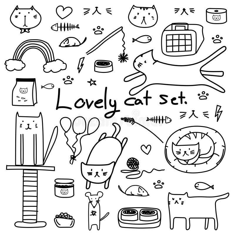 Vetor tirado mão Cat Set bonita da garatuja Cat For Gift Wrap bonito ilustração royalty free