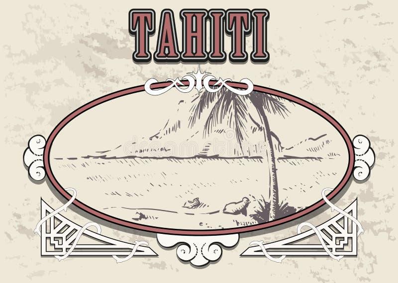 Vetor tirado mão do esboço de Tahiti do Palm Beach ilustração do vetor