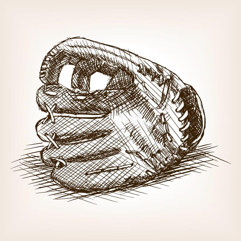 Vetor tirado mão do estilo do esboço da luva de beisebol ilustração stock