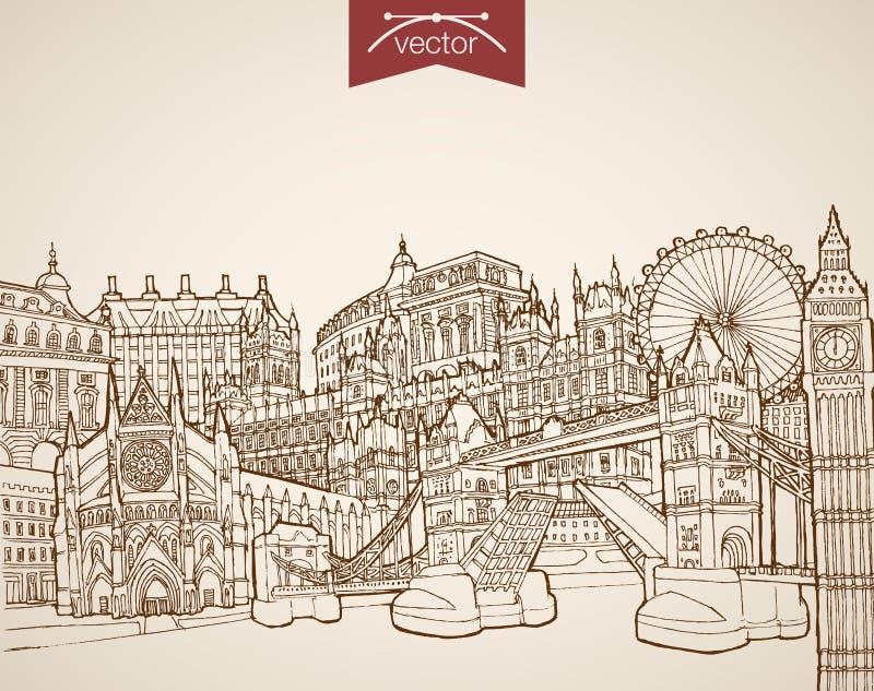 Vetor tirado mão Reino Unido do vintage da gravura ilustração royalty free